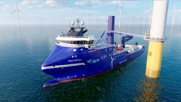 Wind farm vessel with bridge extended to wind turbine.