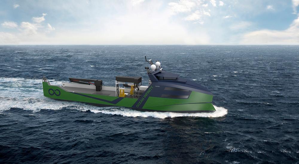 Green autonomous vessel on the ocean