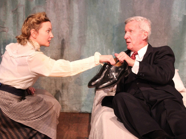 Rachel Mewbron and Richard Vernon in LIKE MONEY IN THE BANK at the Theatre Row Studio Theatre, April 2016
