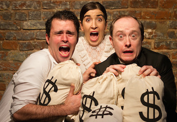 Jack Utrata, Sarah Sirota, and Andrew Sellon in LIKE MONEY IN THE BANK at Theatre Row Studio Theatre, April 2016