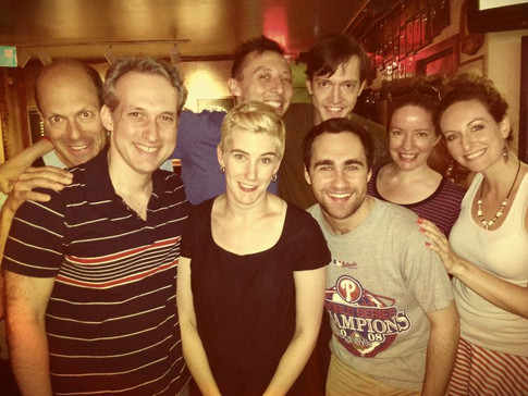 Backstage: Arthur Aulisi, Michael Criscuolo (director), Moira Stone, Mateo Moreno, Colin Chapin, Adam Lebowitz-Lockard, Alyssa Simon, and Victoria Miller in FIX NUMBER SIX, Planet Connections Theatre Festivity, Gene Frankel Theater, May 2013