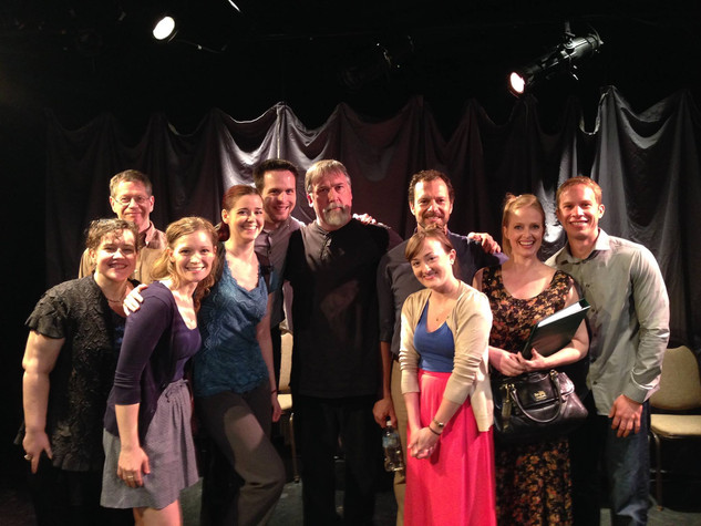 DeLisa White (director), Jerry Polner (playwright), Alisha Spielmann, Julie Menn, Ryan McCurdy, James Armstrong, Tony Travostino, Laura Darrell, Annalisa Loeffler, and Ben Schnickel in LIKE MONEY IN THE BANK (formerly titled How Do You Want It), staged reading at Planet Connections Theatre Festivity, Paradise Factory, May 2014