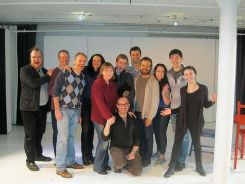 Jonathan Warman (director), Jerry Polner (playwright), Rob Skolits, Cynthia Bastidas, Rosemary Howard, Jay Reum, Jorge Marcos, RJ Batlle, Jes Dugger, Connor Johnston, Danielle Hernandez (stage manager), and Jaime Puerta (sitting) in LIKE MONEY IN THE BANK at TheaterLab, March 2015