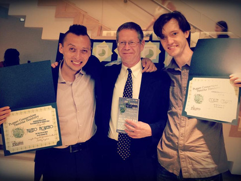 Mateo Moreno and Colin Chapin accept their Planet Connections Theatre Festivity acting awards for FIX NUMBER SIX, Gene Frankel Theater, May 2013