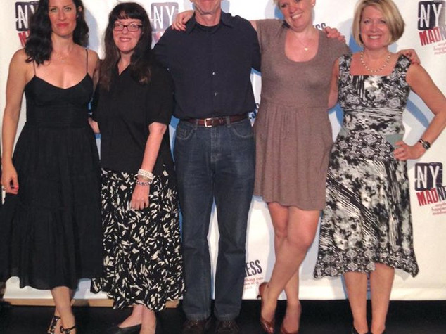 New York Madness playwrights Cecilia Copeland, Caridad Svich, Jerry Polner, Judith Leora, and Penny Jackson at MadLab, IRT Theater, July 2015