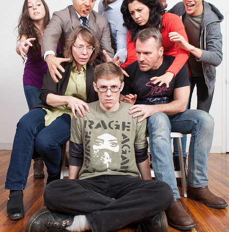 Jes Dugger, RJ Batlle, Jorge Marcos, Cynthia Bastidas, Connor Johnston, Rosemary Howard, Rob Skolits, and Jay Reum in QUIT THE ROAD, JACK at TheaterLab, March 2015