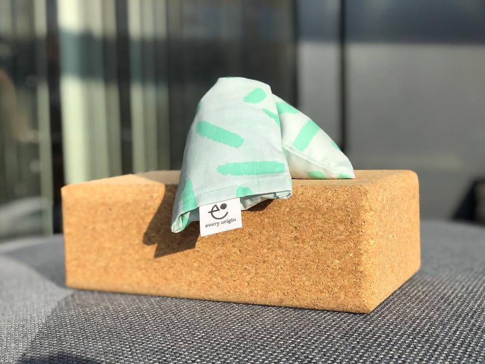 yoga block and eye pillow