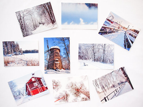 WINTER postcards (107x150)mm - set of 9 different