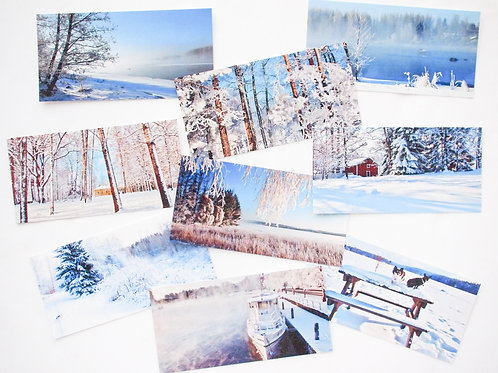 WINTER panorama postcards (99x200)mm - set of 9 different