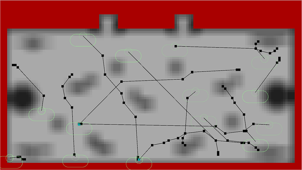 An example of A* pathfinding at work.