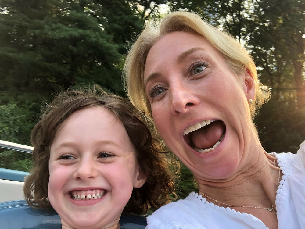 Eileen Fein and daughter on roller coaster