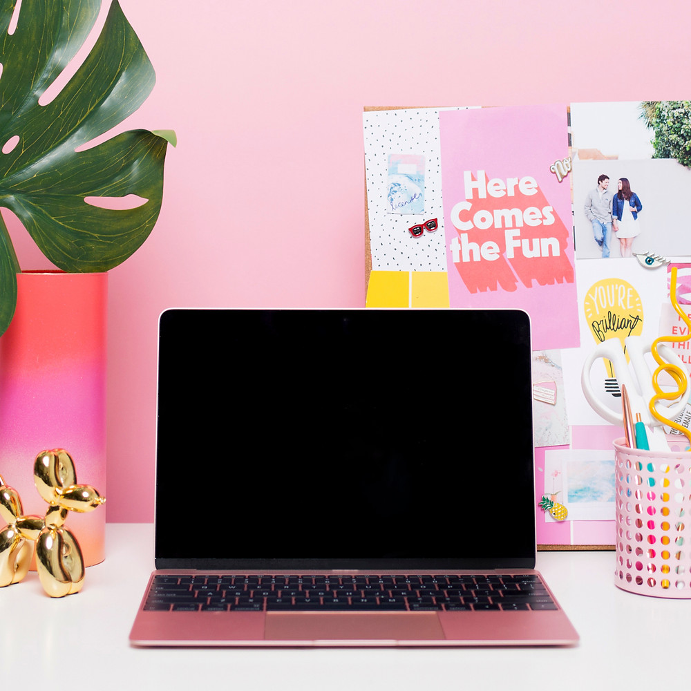 computer with pink background
