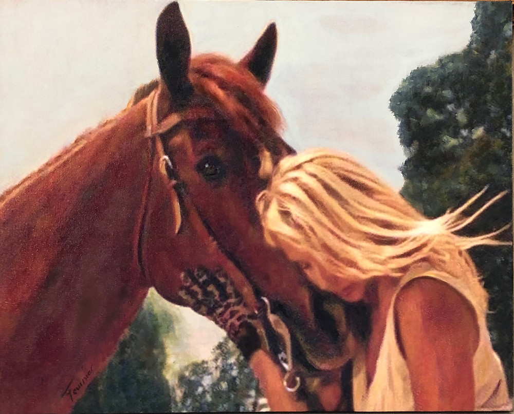 Woman with Horse Mireille Fournier