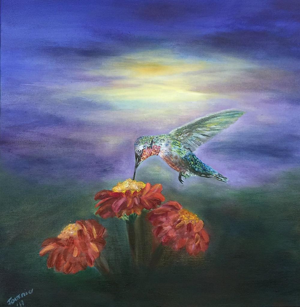 Hummingbird Painting Mireille Fournier