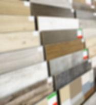 Assortment of flooring samples in shop.j