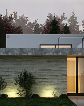 A 3D rendering of modern house facade at