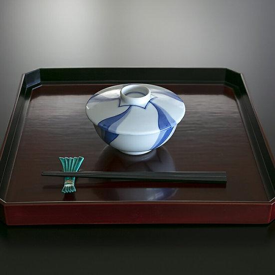 6代 高橋道八 青華磁花様蓋茶碗(10客揃)