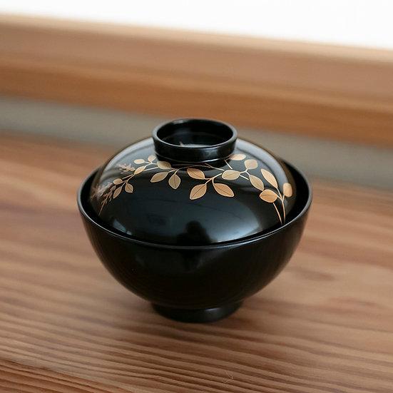 橘屋友七 草花蒔絵仙斎形吸物碗(10客揃・蒔絵5種類)