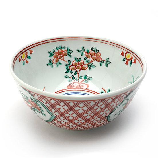 2代 叶松谷 赤絵菓子鉢