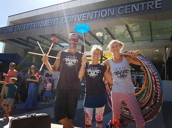The Awesome M-Team all smiles after playing circus with all the kids at the Children's Festival! #merakicircus #childrensfestival #gladstone