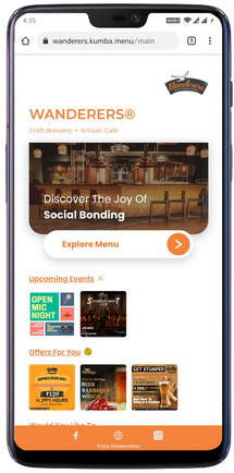Branded webapp, display offers, events & social media links in an attractive way