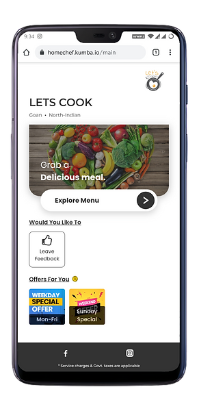 Branded webapp for Home Chefs to market their offerings an to get online orders