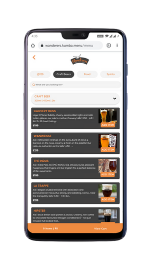 Enriched menu with filters. Search, Add & Order!