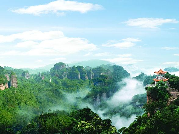 Danxia-Mountain-beautiful-scenery-pavili