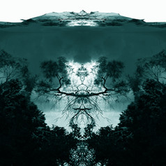 Voices in a Meadow, digital art by artist Marcus Callum, landscape, Rorschach, teal
