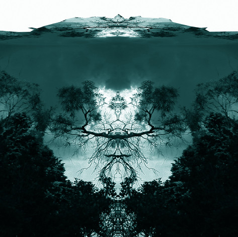 Voices in a Meadow, digital art by artist Marcus Callum, landscape, Rorschach, teal