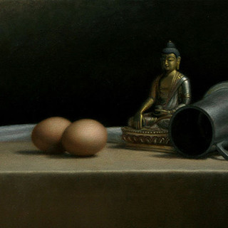 Eggs and Buddha still life