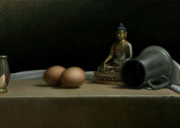 Eggs and Buddha still life