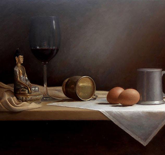 Wine, Eggs and Buddha still life