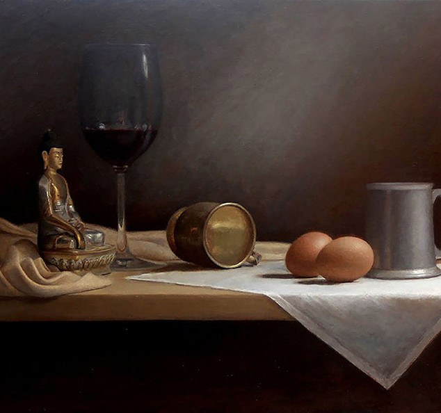 Wine, Eggs and Buddha still life