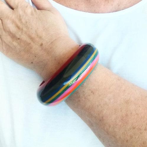 Bracelete de Resina Listado Colorido