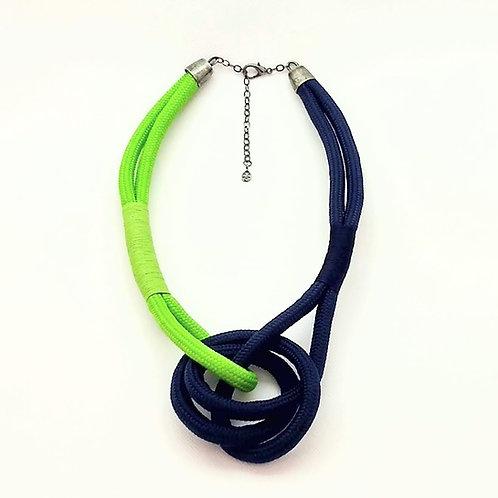 Colar em Corda Náutica Azul Marinho e Verde - Lyra
