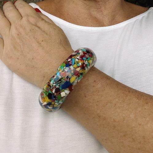 Bracelete de Resina Colorido - Tipo Mosaico