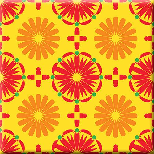 Kaleidoscope - Yellow / Orange / Red (Single Tile)
