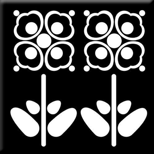 Pressed Flowers - Black / White (Single Tile)