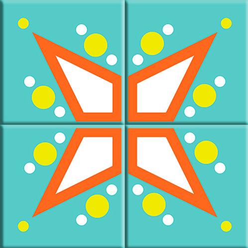 Mod Star - Teal (4-Tile Mural)