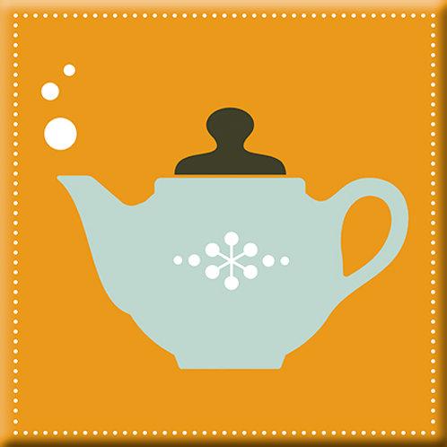 Spot of Tea - Orange / Light Teal (Single Tile)