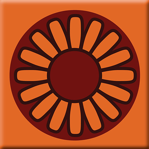 Floral Wheel - Orange (Single Tile)