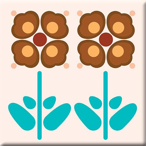 Pressed Flowers - Peach (Single Tile)