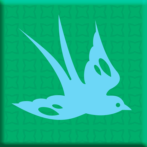 Free Bird Green - Blue Right (Single Tile)