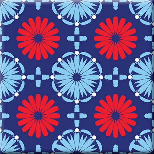 Kaleidoscope - Blue / Red (Single Tile)