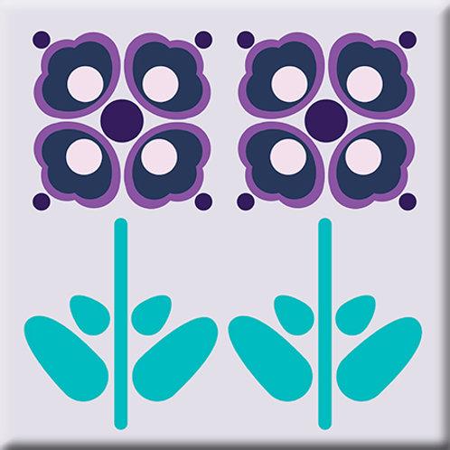 Pressed Flowers - Plum (Single Tile)