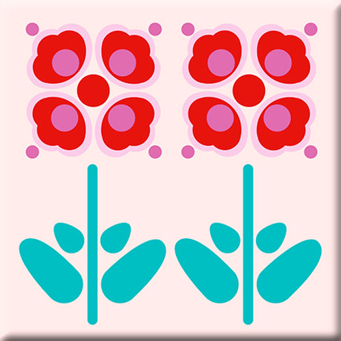 Pressed Flowers - Red (Single Tile)