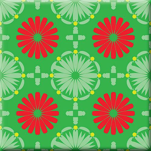 Kaleidoscope - Green / Red (Single Tile)