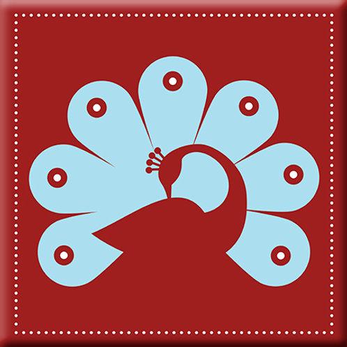 Peacock - Red/ Light Blue (Single Tile)