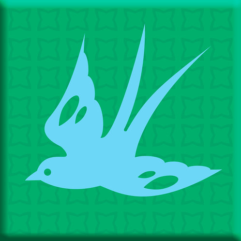 Free Bird Green - Blue Left  (Single Tile)